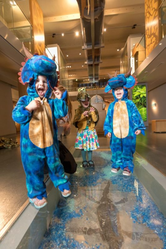 Children dressed as dinosaurs