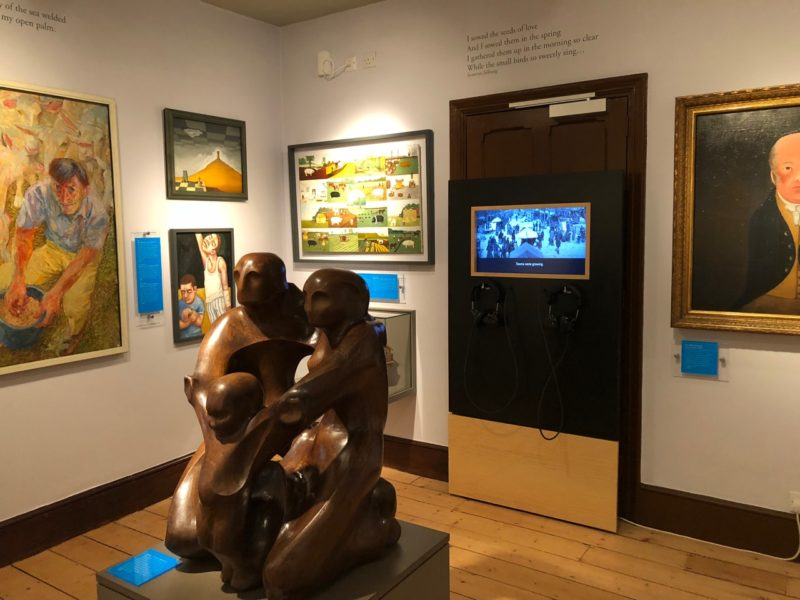 Sculpture and paintings in display