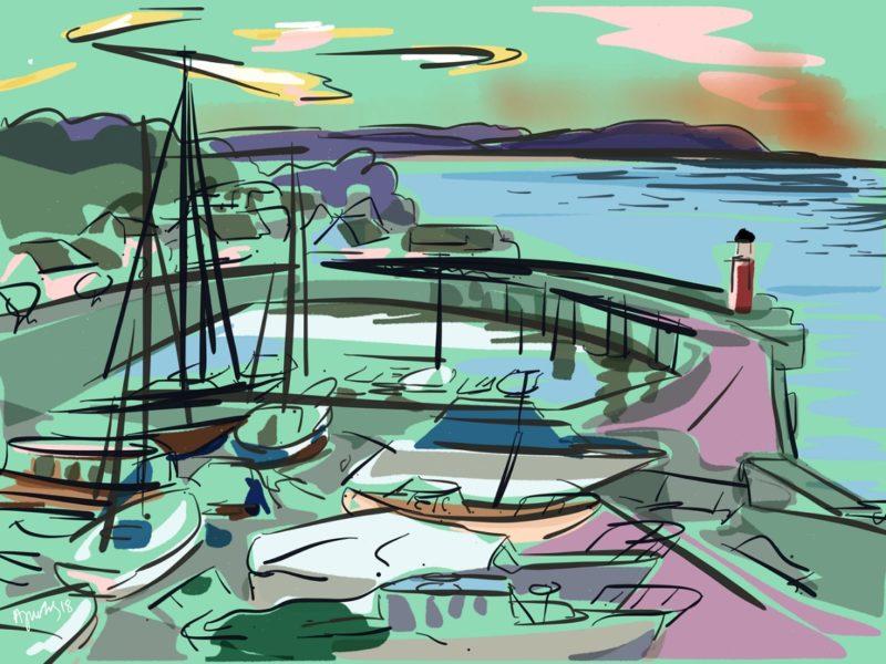 painting of Watchet harbour