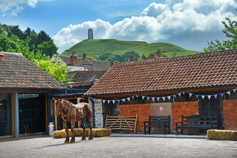 Somerset_Rural_Life_Museum Courtyard with view of the Tor