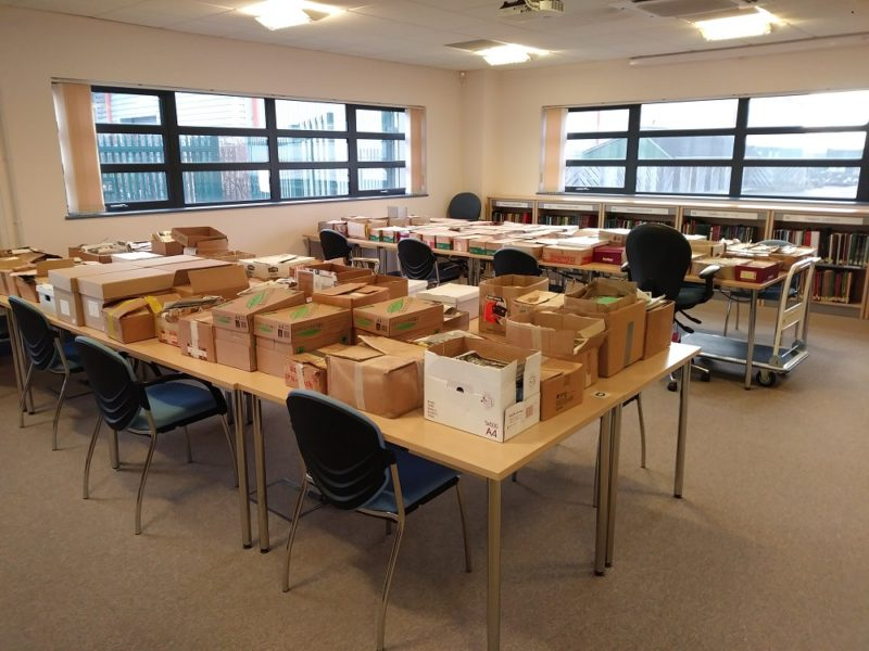 Archive boxes in the Search Room