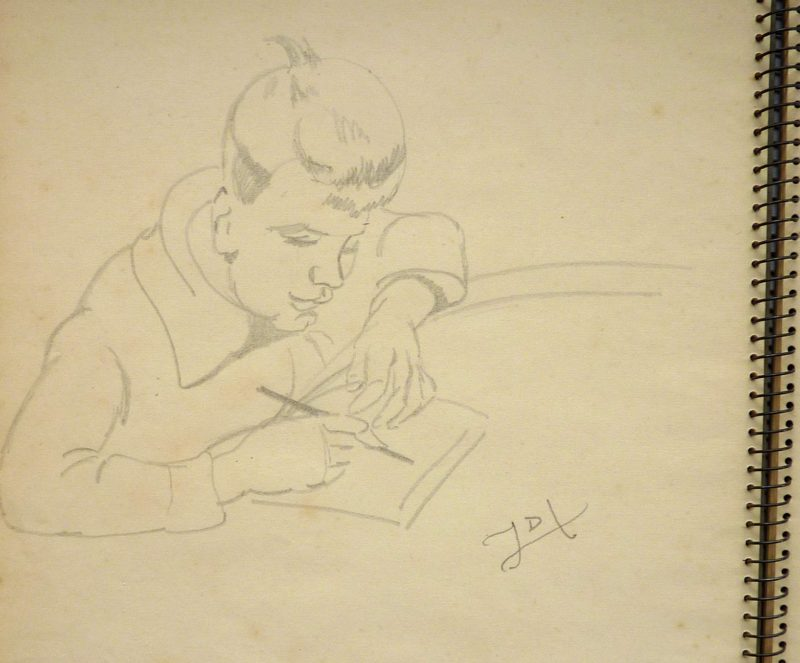 Pencil line sketch of boy drawing