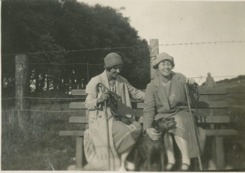 Margery and Doris with dog