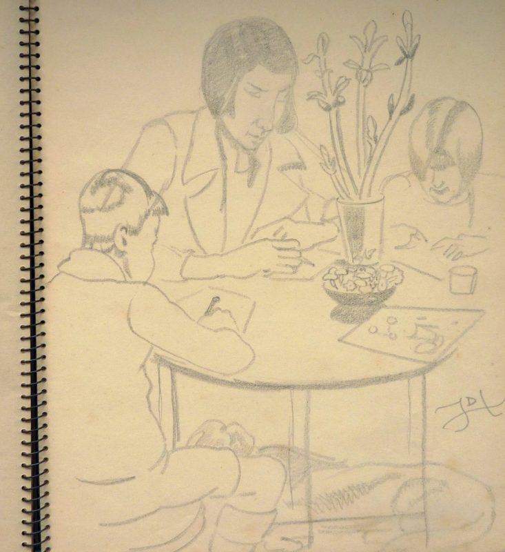 Pencil line sketch of children drawing
