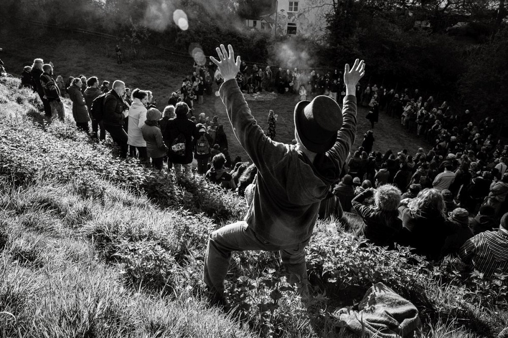 Black and white photo of a may day celebration.