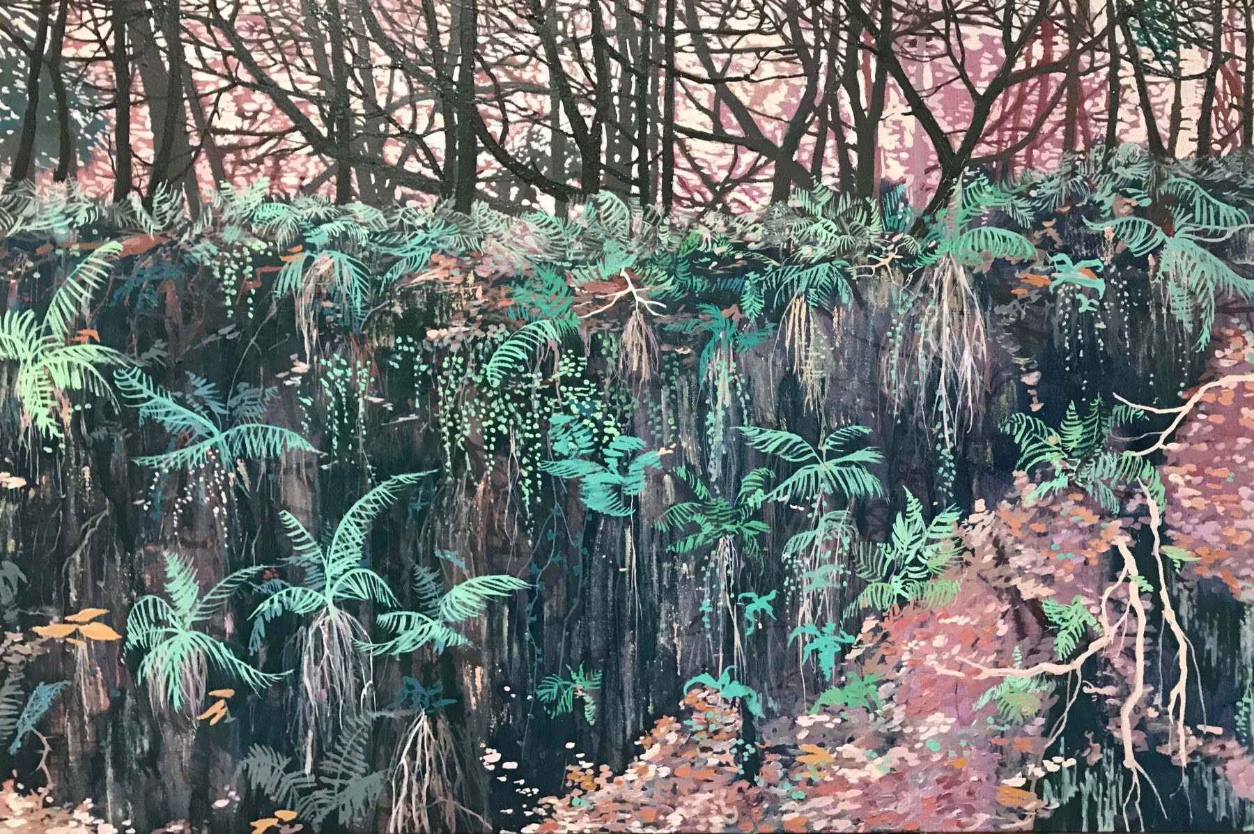 An abstracted version of a forest made up of fern leaves and tumbling foliage in green and pink hues dominate the canvas. Dark brown trunks of trees are packed close together in the background of the image.