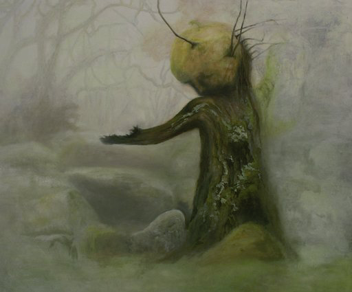 A singular tree trunk rises in the foreground of a forest of twisting branches which are partially obscured by grey fog. The tree's stunted branch, which juts out to its right, and circular mass of moss at its top, gives it an anthropomorphic quality, which makes the painting seem otherworldly.