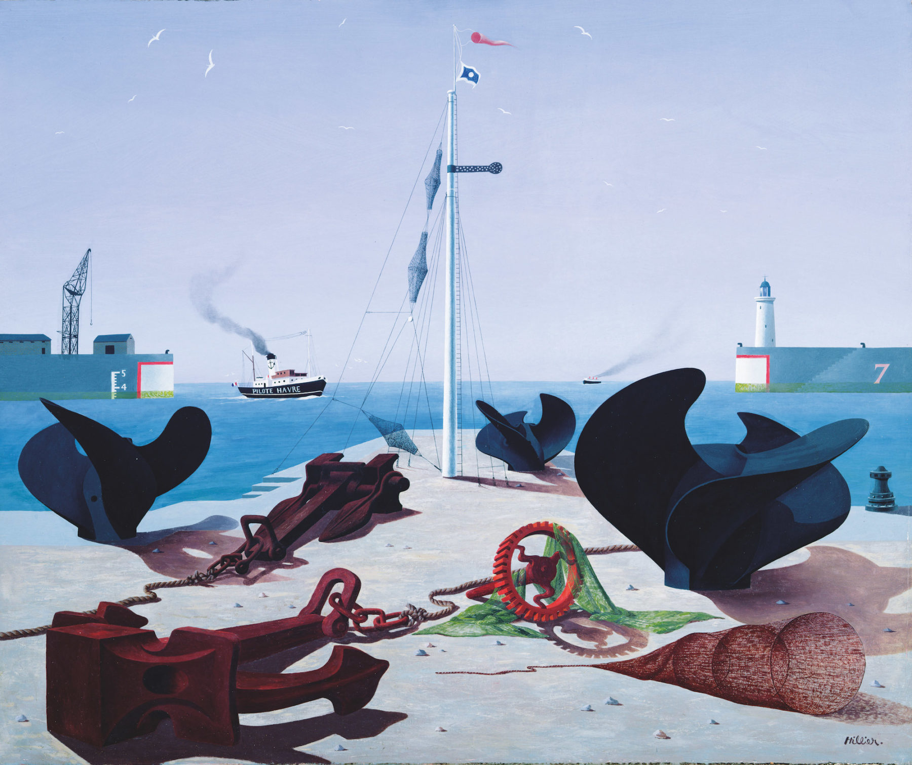 A jetty is strewn with rust coloured anchors, propellors and fishing nets. A mast rises at the end of the jetty - and centre of the picture - with a red flag flying in the wind at the top. Behind is a deep blue sea with a steam boat called PILOTE HAVRE journeying to shore. A crane can be seen on top of a jetty on the horizon to the left; to the right is a jetty with a white lighthouse. A large purple blue sky with small white birds overlooks the composition.