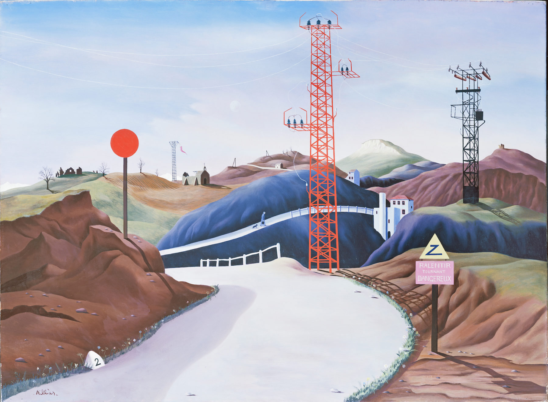 A bright cream coloured track road criss crosses a hilly landscape. The colours of the hills varies from brown in the foreground through deep blue-grey in the centre to red and green in the background. Electricity pylons (one red and one black) and a lolly-stick road sign cut through the landscape. Whitewashed buildings sit between the hills and ruined farm buildings and a church lie in the background. A road sign in the foreground declares 'Ralentir Tournant Dangereux' (meaning dangerous corner).