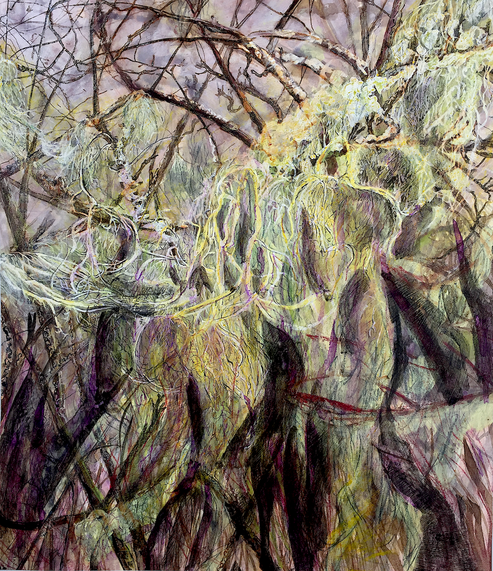 Tree branches and tumbling leaves are depicted closely packed and overlapping. The illustrative use of thin black line, and use of deep purples, yellows and browns, gives the feel of a gothic landscape.