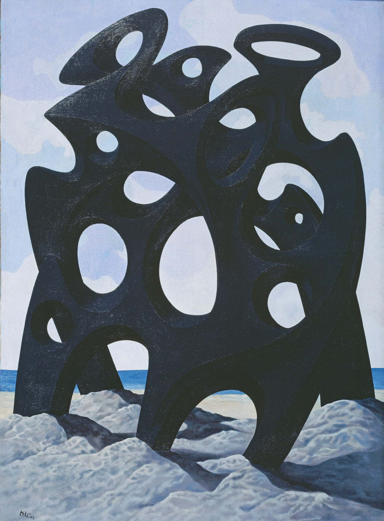 An undulating jet black sculptural form sits atop a rocky landscape, dominating the canvas. A pale blue sky with wispy clouds, sand and deep blue sea is shown through the large circular holes in the sculpture.