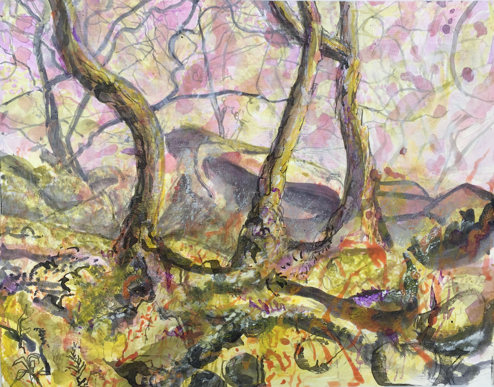 The trees undergrowth consists of lyrical abstracted patterns in yellow and black with red and purple highlights. Three tree trunks twist upwards into the sky. The background sky is covered with deep purple blotches of ink.