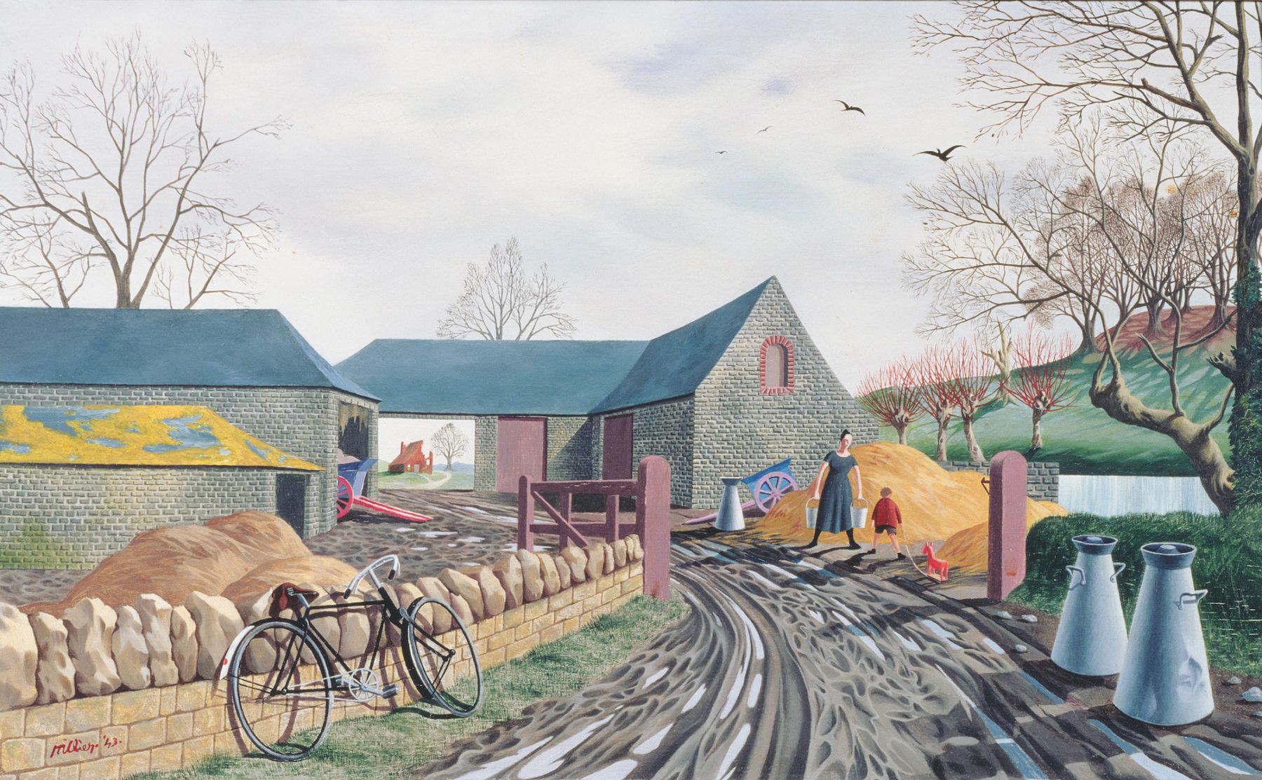 A muddy track lined with a stone wall and abandoned bike on one side, and traditional milk churns on the other, leads through an open gate to a series of farm buildings. A blue cart with red wheels leans out of one of the barn doors. On the right a female figure carrying two milk pails stands with a child in front of the pile of hay that sits in front of the barn.