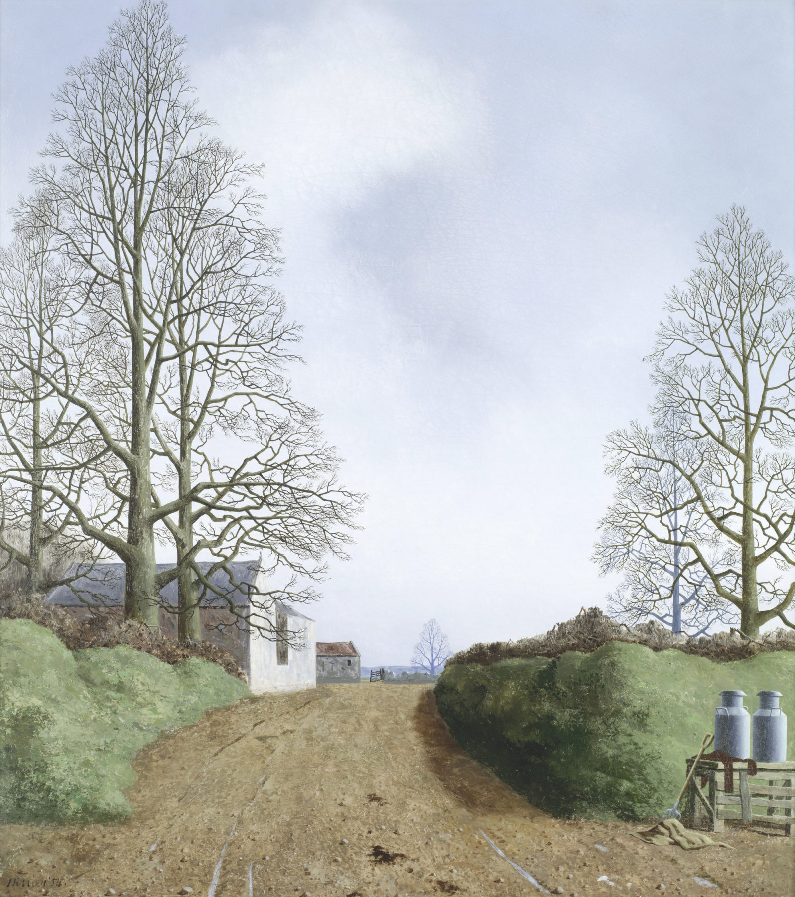 An uneven lane leads to agricultural buildings and open countryside beyond. The scene is framed by tall and thin bare-branched trees. The grey blue sky indicates a cold winter's day. Milk churns and abandoned farming tools are shown in the foreground, to the right of the road.