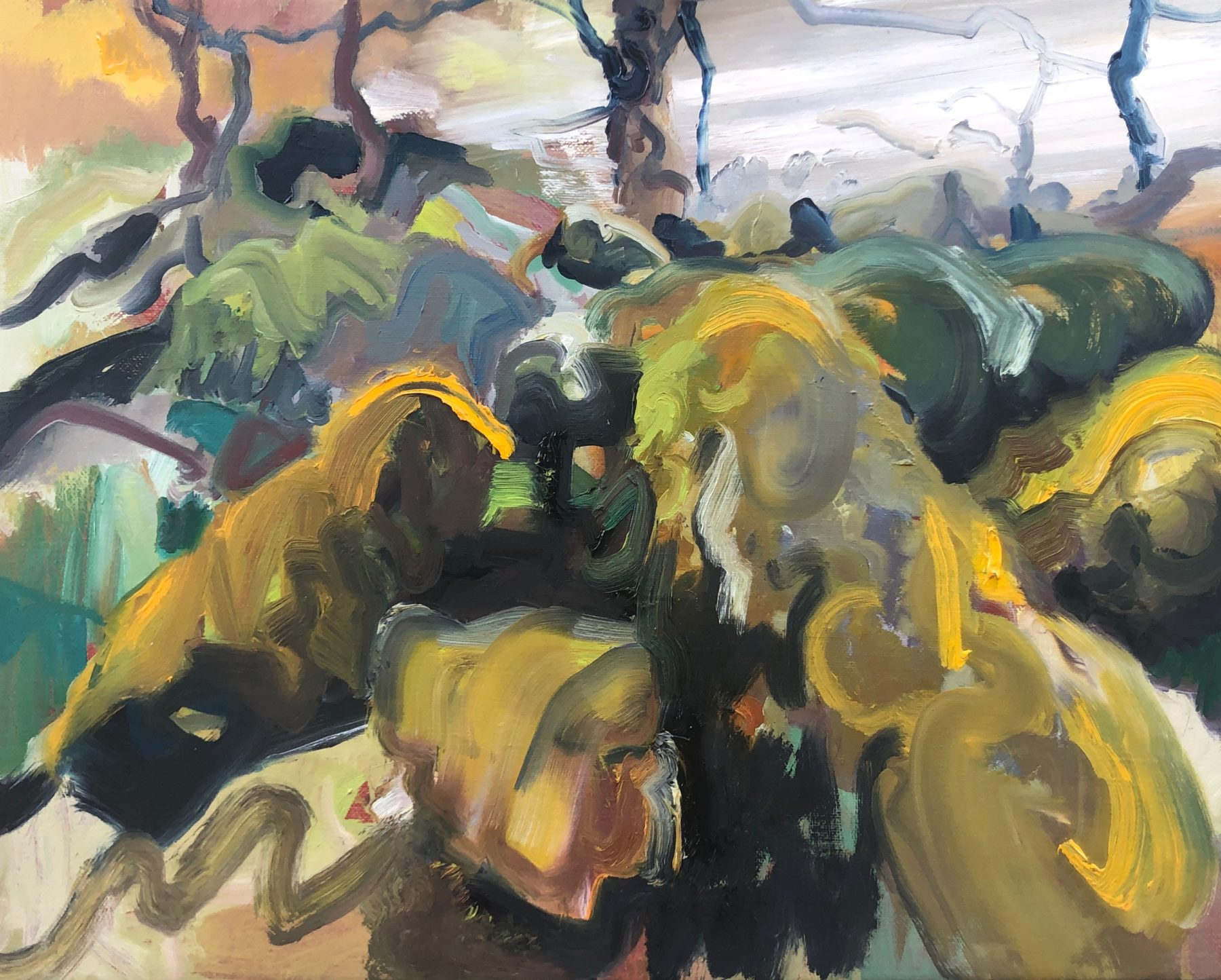 Bold and expressive brush marks of yellow, green, black and blue overlap and interlace to create an abstract picture of a dense forest.
