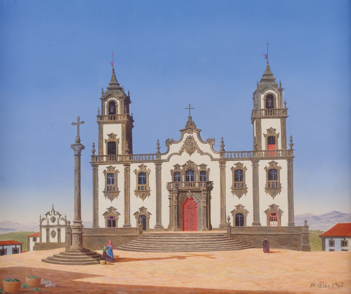 The painting is dominated by an ornate cream coloured Baroque chapel with beige detailing around the windows and on the two towers which rise on the left and right of the chapel. Steps lead to the red-pink doors. The sky is a clear warm blue. A small part of the church square is shown with three small figures. The view behind the chapel is of housing and mountains in the distance.