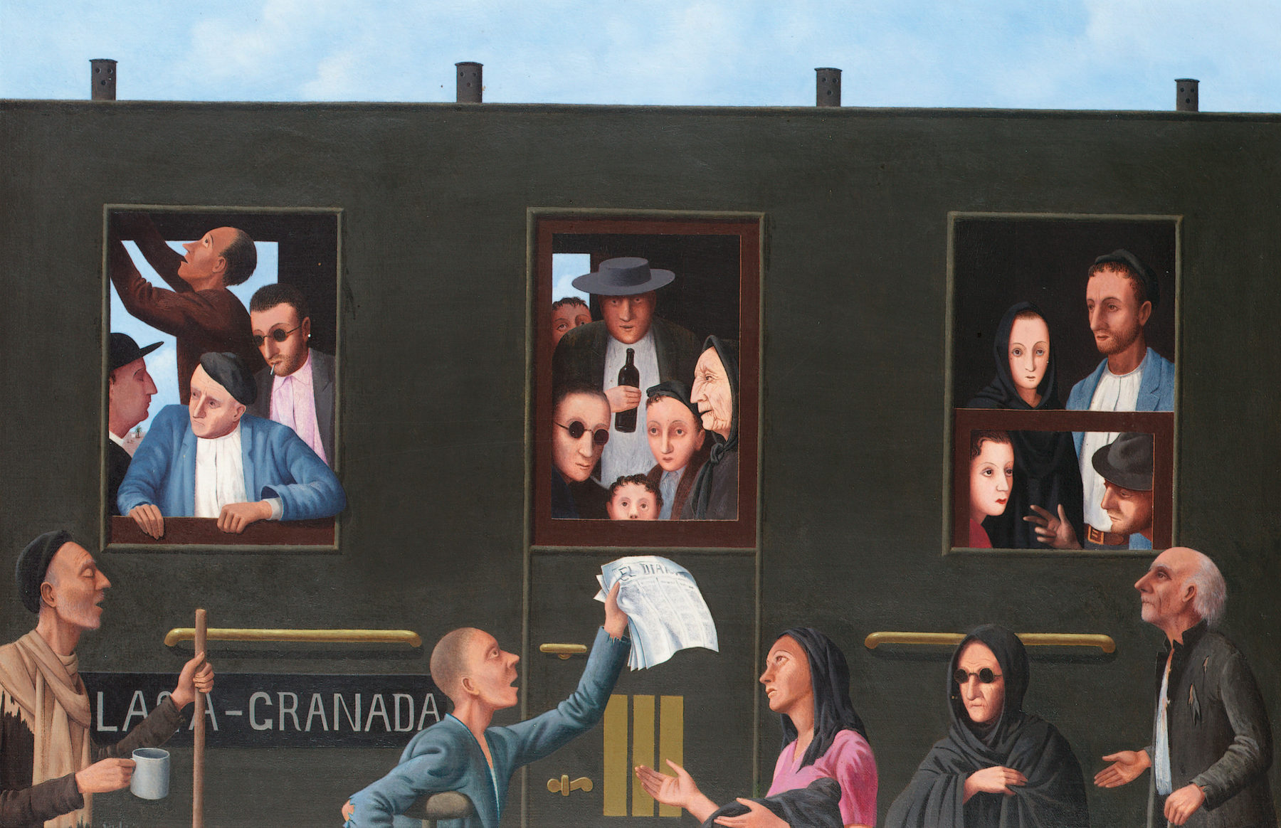 A solid black railway carriage dominates the painting with only the small stretch of blue cloudy sky at the top of the composition giving an indication of the wider landscape. Words on the side of the train indicates it is bound for Granada. The carriage is crowded with people of all ages while five people stand on the platform.