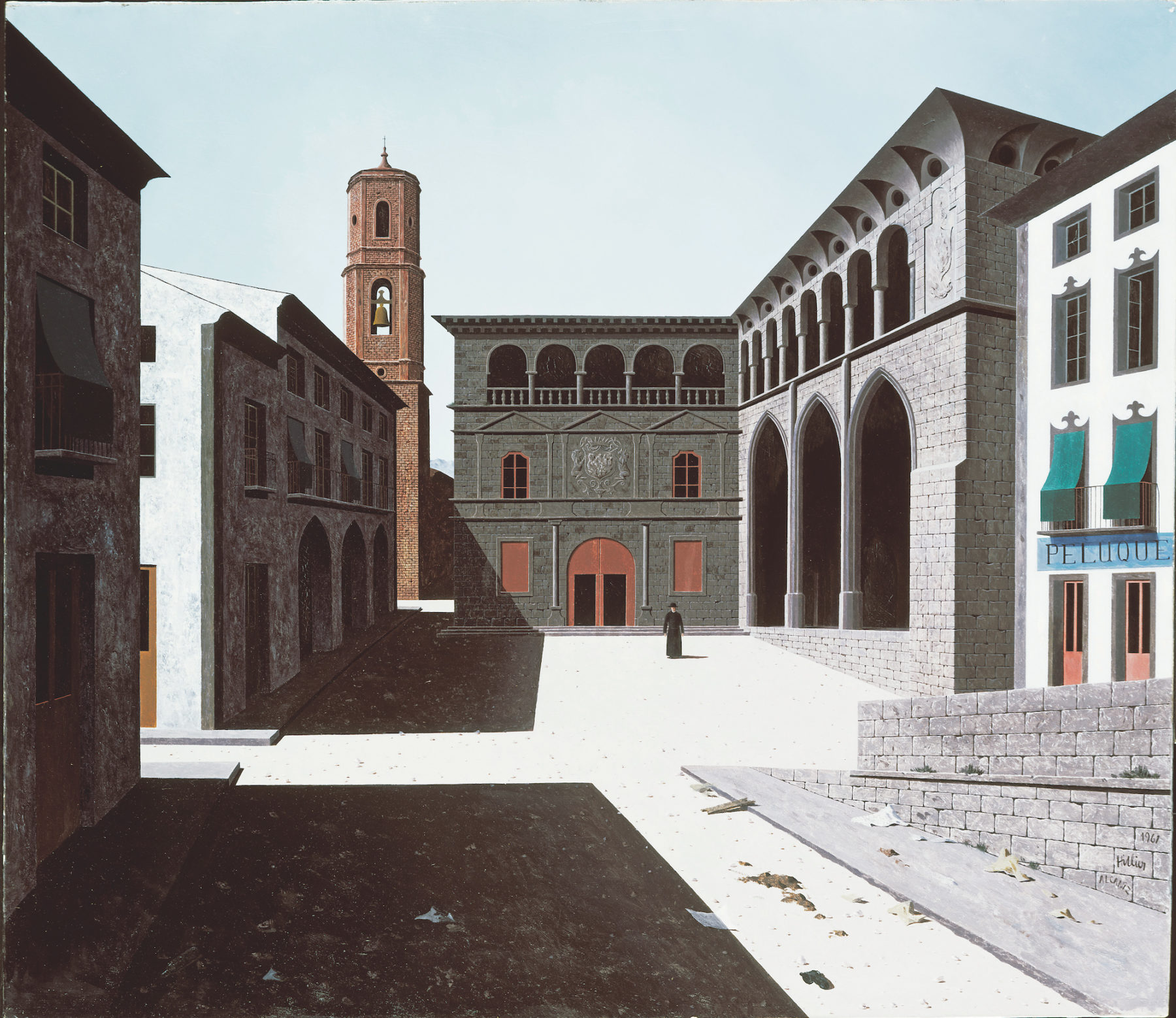 A town piazza lies empty apart from a solitary figure dressed in black. Baroque architectural facades surround the edge of the square. On the right hand side a building has large arches opening up into a dark portico. In the background is a red brick tower. Stark black shadows fall on the piazza from the buildings on the left.