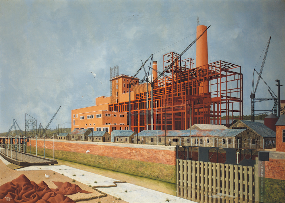 A power station under construction, more than half of which is covered by red scaffolding, towers over the scene. Black cranes provide further evidence of the building work taking place. Long brown workshop buildings with rusting corrugated iron roofs sit in front of the station. In the foreground a brick wall separates the building from the industrial landscape in front. which includes thin stretch of canal and swing bridge.