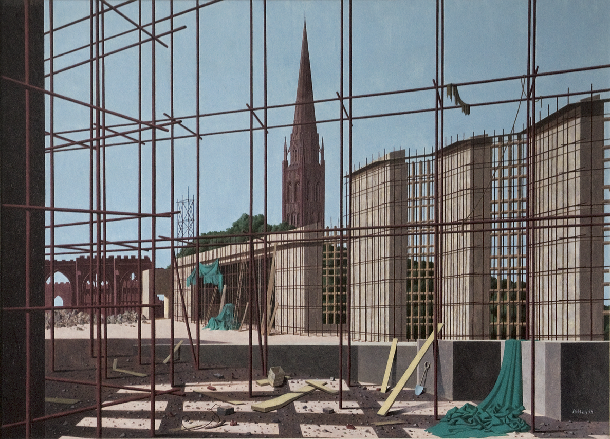 A scene of building construction work is viewed through the red-brown open scaffolding in the foreground. Further scaffolding is wrapped around solid concrete structures behind and in the background rises a brown stone pointed church spire, next to leafy green trees and the ruins of church walls. Green drapery hangs over a concrete cube in the foreground, and there is various detritus evident of the building tasks including planks of wood, a space and bricks.