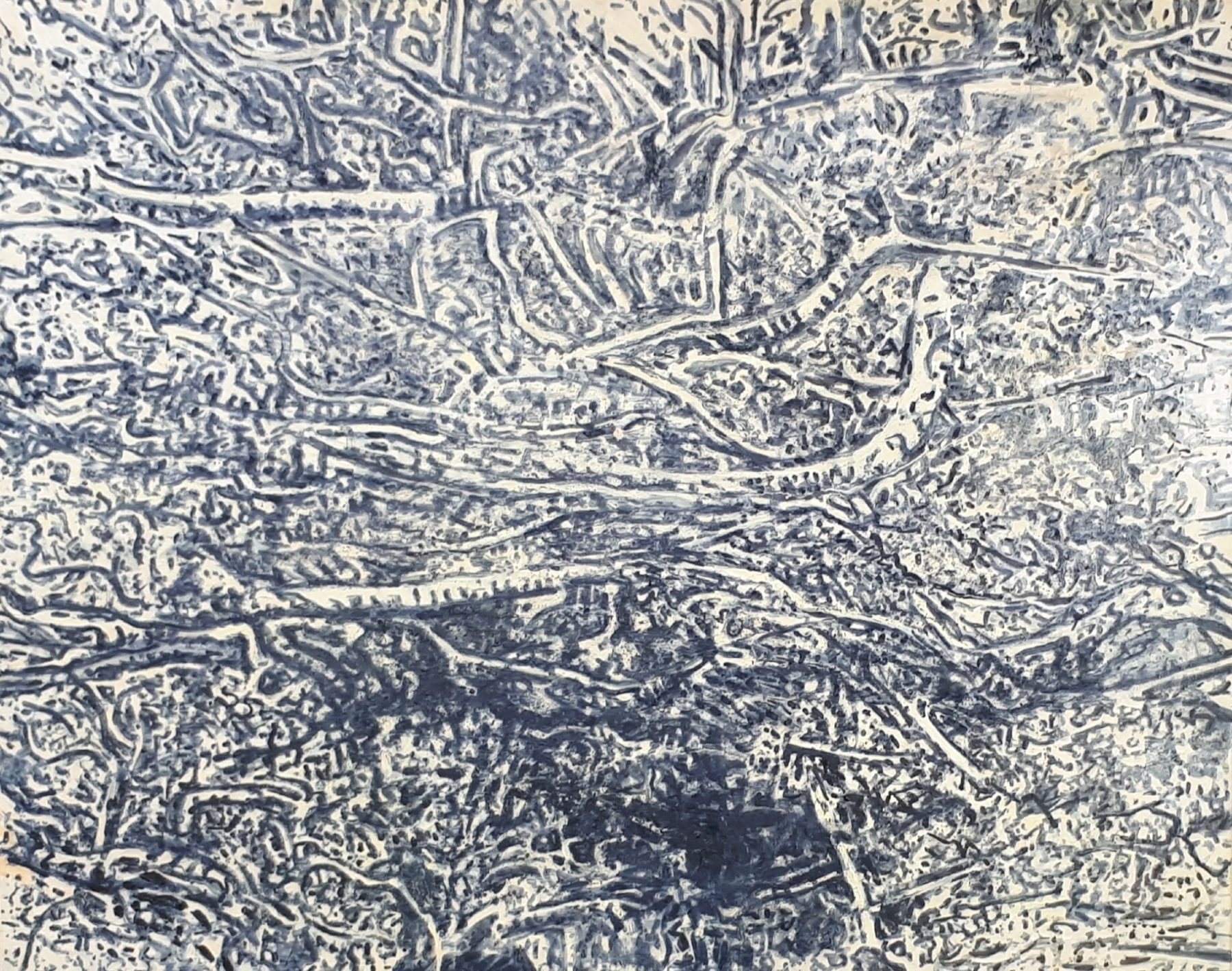 Tightly packed black and white lines intersect to create a mass of branches on the canvas.