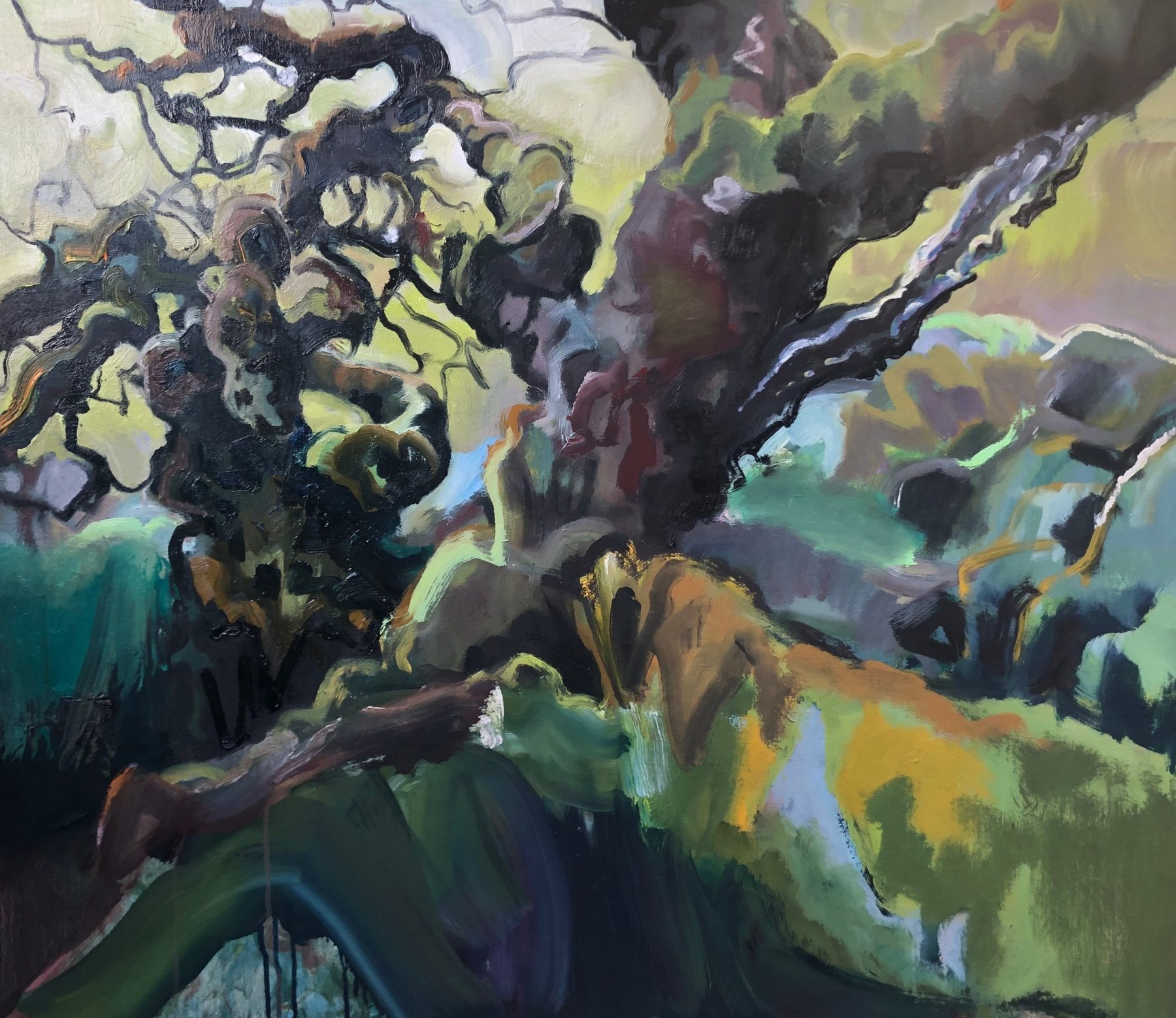 Gnarly tree branches are depicted with strong gestural brushmarks which give a sense of liveness. The abstract nature of the painting makes it difficult to differentiate from the foreground and the background, making it an artwork that immerses you in the atmosphere of the place. The colour palette consists of dark browns, blues and muddy yellows.