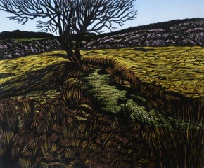 A tree is set against a blue sky. The artist has imagined the roots reaching down through the earth below. The colour scheme is muted browns and yellows.