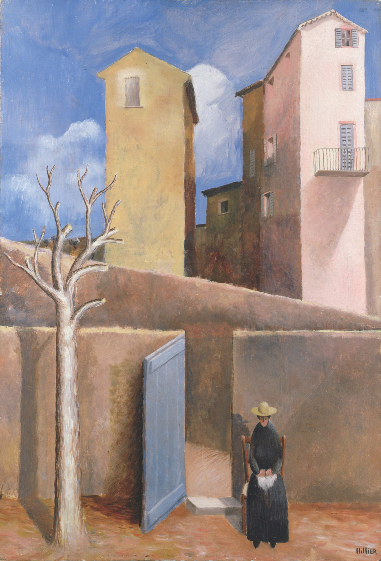 A warm mediterraean scene is dominated by slender high rise buildings painted in pastel pink and burnt yellow. The bottom half of the towers are obscured by a beige wall with an open gate. In the foreground a bare tree rises on the left, and a woman with a hat dressed in black sits to the right.