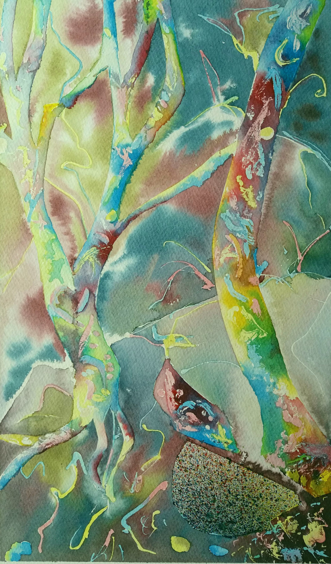This painting is part of a series of three by the artist. All are abstract renderings of tree trunks floating against a multicoloured background. The use of vibrant blues, yellows, reds and greens give the painting a fairytale quality.