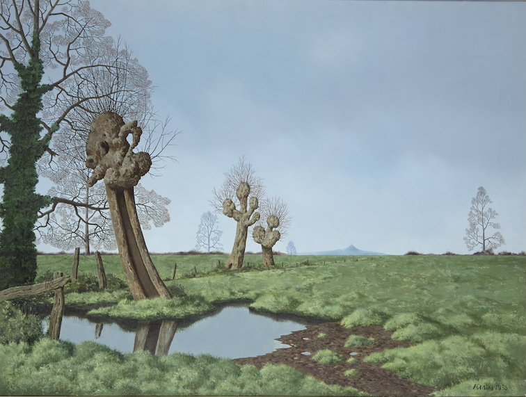 A view across a green landscape against a grey blue sky. A large moss covered tree with bare branches is on the left, next to a pollarded willow tree with a long curved trunk. Two smaller willows are at the centre of the canvas. A small pond reflects the tree trunks.