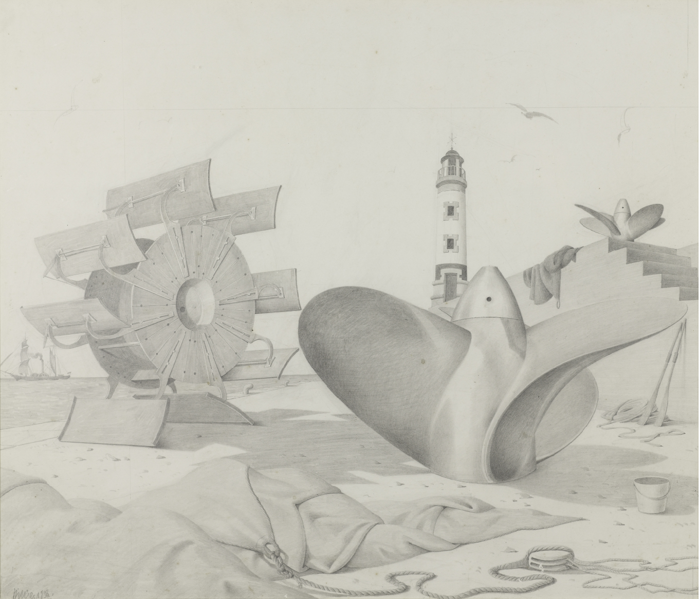 Highly detailed pencil sketch showing a sandy beach dominated by a large shipping propellor and water wheel. In the foreground is a large piece of draped material and a curving rope. Overlooking the scene is a lighthouse.