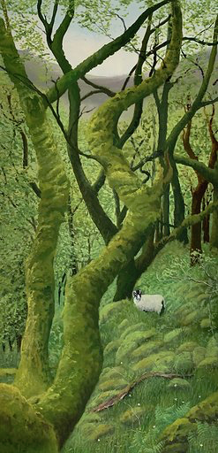 A tall portrait painting of a hillside with twisting tree branches and a solitary sheep