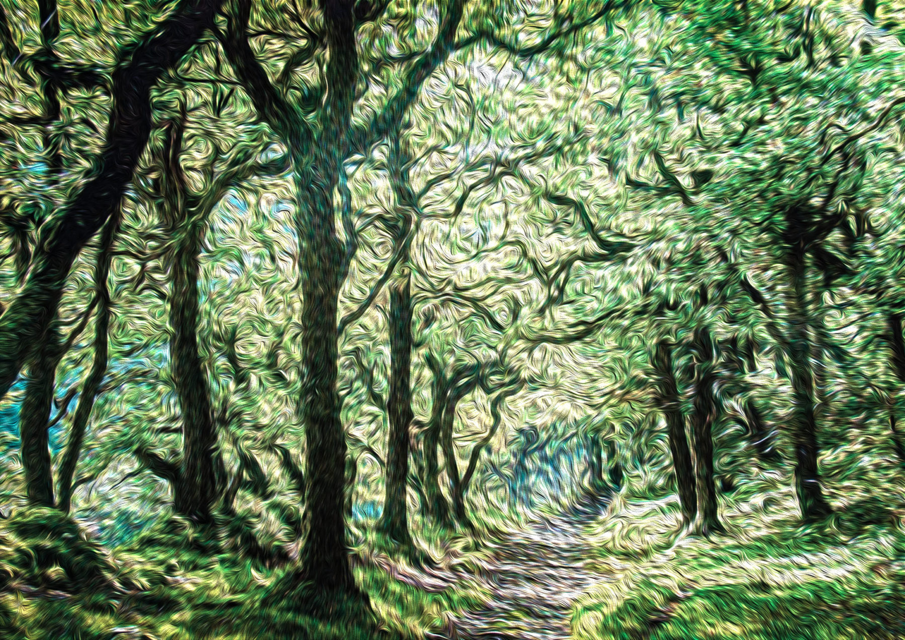 A forest scene with a path running through its centre is depicted in an abstract form by the artist, with swirling applications of green and blue green evoking a densely packed canopy of leaves.