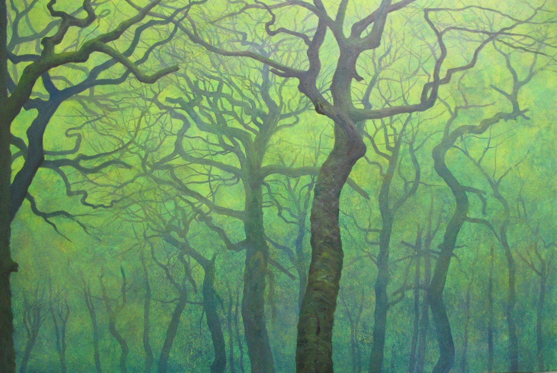 Atmospheric painting of tall thin tree trunks against a misty looking green sky