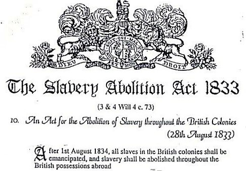Document header for the Slavery Abolition Act