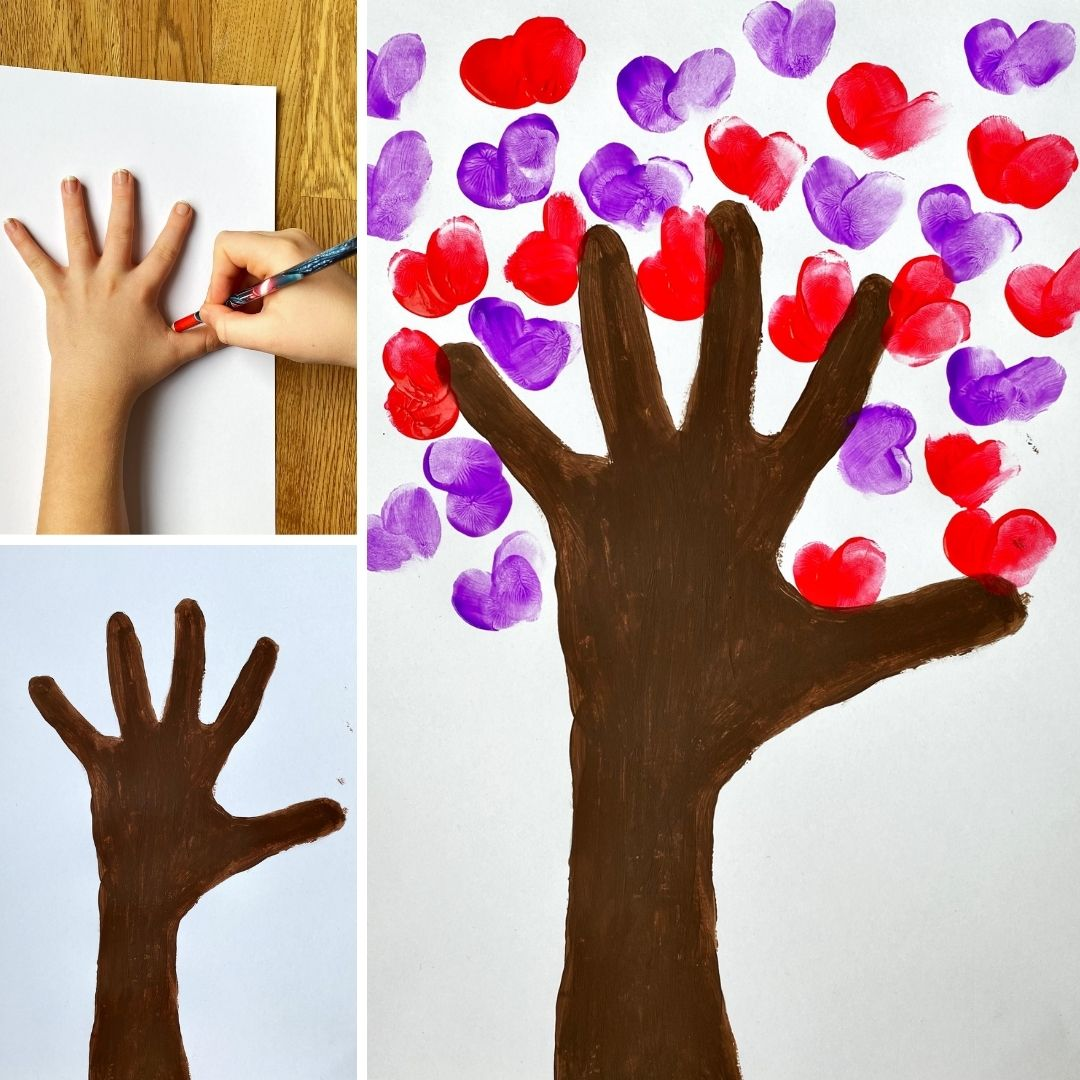 a painted hand and arm, which is painted brown to look like a tree trunk, fingerprints are in the shape of hearts and are placed around to look like leaves on the tree
