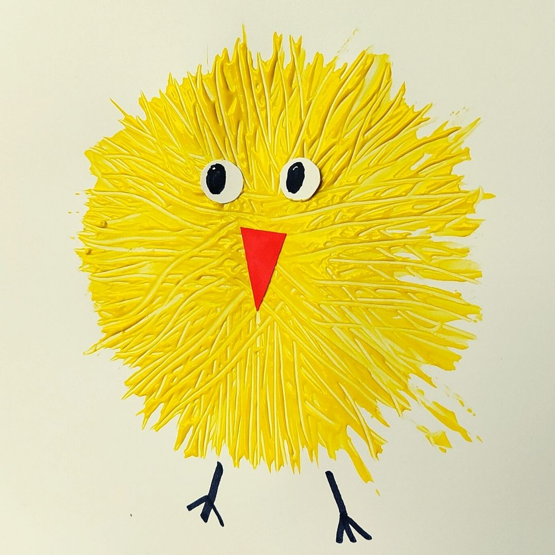 a homemade fork painted chick!